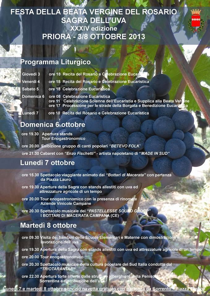 Sagra dell'Uva a Priora, ritorna l'appuntamento enogastronomico al Borgo di Sorrento