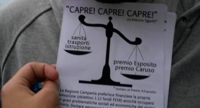 """Sit in al premio Esposito, i Gd: """"Spreco di soldi"""""""