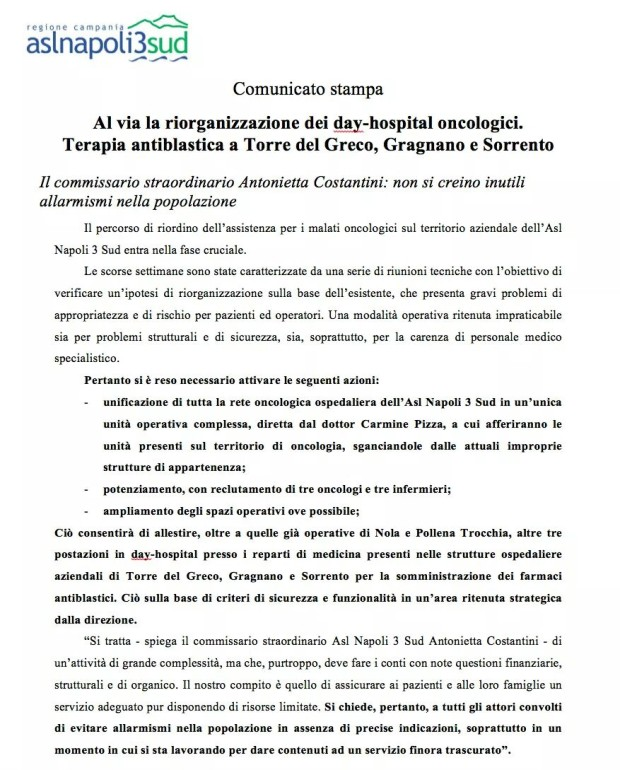 Day hospital oncologico a Sorrento