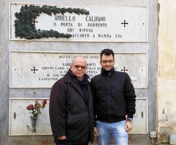 Visita della Pro Loco di Sant'Egidio alla tomba del poeta Aniello Califano a Sorrento